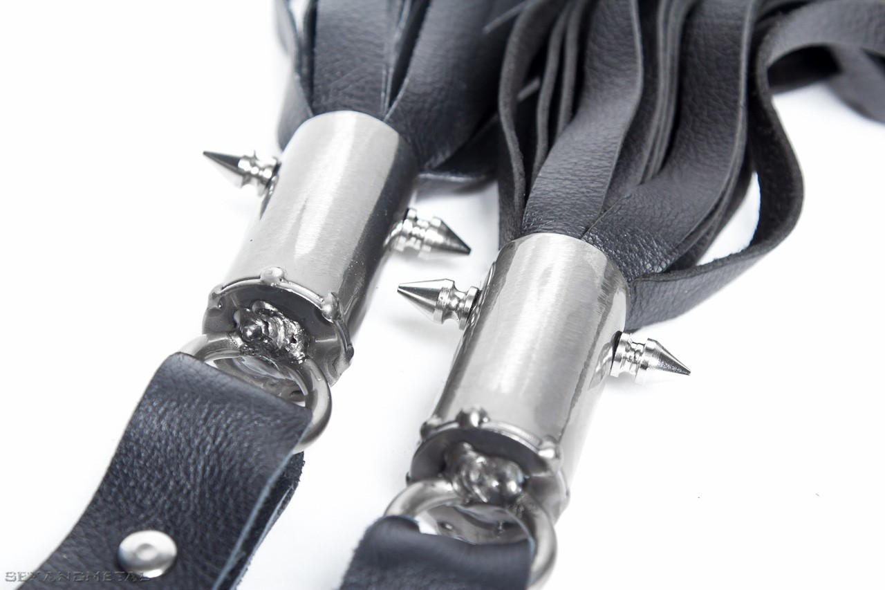 Leather finger floggers pair. Clear finish