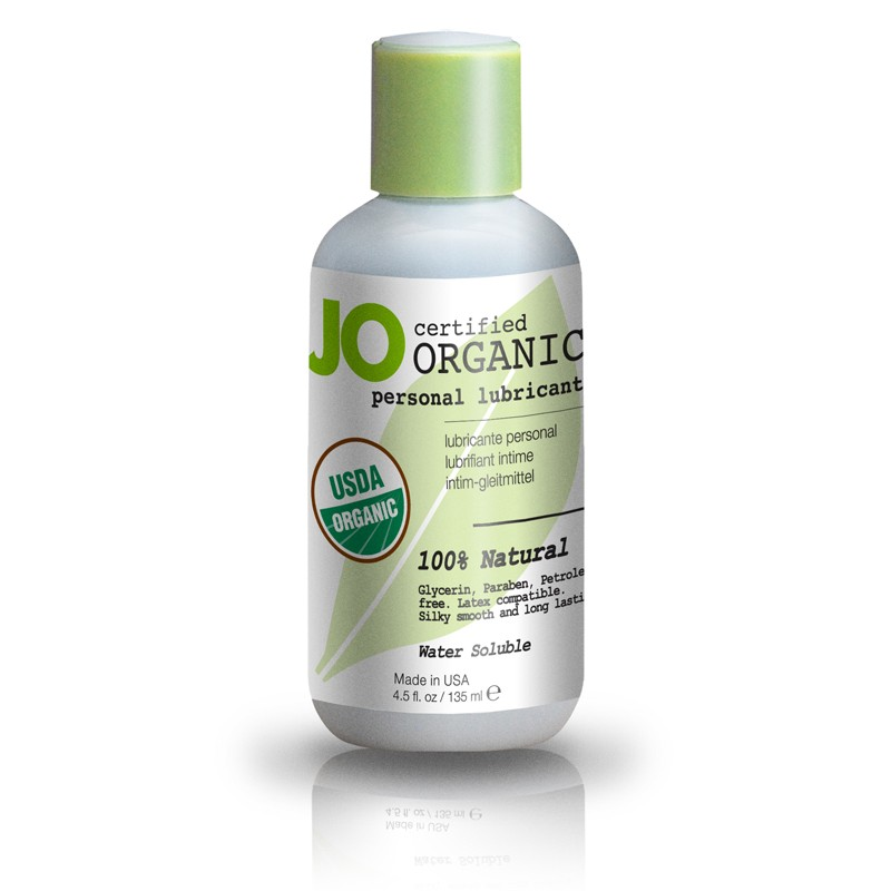 JO organic lube, natural lubricant bottle detail shot.