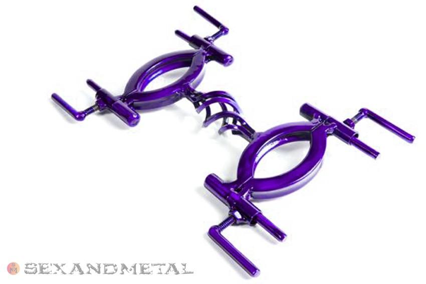 Purple basket case hand cuffs detail view - bondage restraints by Sexandmetal.com