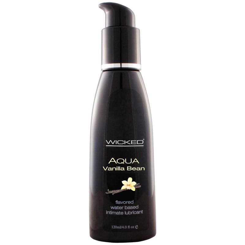 wicked aqua vanilla bean flavored lube bottle detail