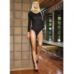 140D Opaque Long Sleeves Bodysuit O/S Black