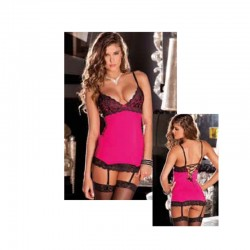 2pc Hollywood Chemise Set Hot Pink S/M
