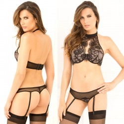 2pc Lace Choker Bra & Garter G-String Set Black M/L