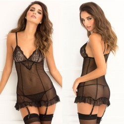 2pc Lace & Fishnet Garter Chemise & G-String Set Black M/L