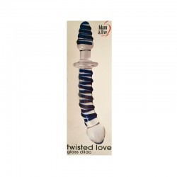 Adam & Eve Twisted Love Glass Dildo Clear/Blue