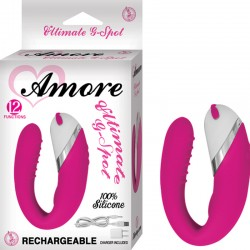 Amore Ultimate G Spot Silicone,12 Function, Waterproof W/Travel Pouch and USB Charger Pink