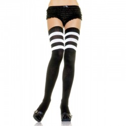 Athlete Thigh Hi w/3 Stripe Top O/S Black/White