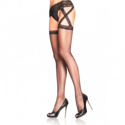 Criss Cross Sheer Garter Belt Stocking Plus Size Black