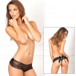 Crotchless Bow Back Panty Black M/L