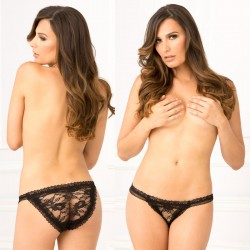 Crotchless Lace Panty Black M/L