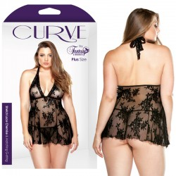Curve Stretch Lace Chemise & Matching G-String Black 3X/4X