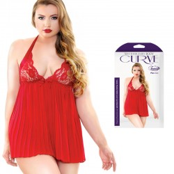 Curve Valerie Pleated Halter Lace Cup Babydoll With Matching G-String Red 1X/2X