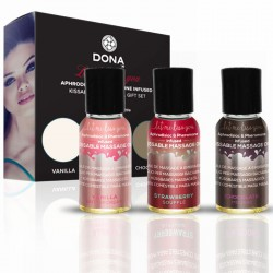 DONA Let Me Kiss You Massage Gift Set (Flavored Massage Oil Trio 3 x 1oz)