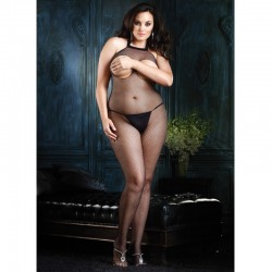 Fishnet Halter Bodystocking Open Plus Size Black