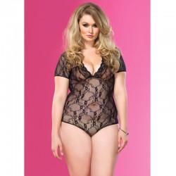 Floral Lace Backless Deep-V Cap Sleeve Teddy Plus Size Black