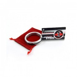 H2H Stainless Steel 1.75in. Cock Ring With Chain Inlay