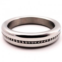 H2H Stainless Steel 1.875in. Cock Ring With Ball Chain Inlay