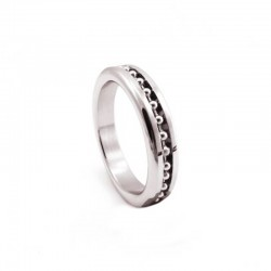 H2H Stainless Steel 2in. Cock Ring With Ball Chain Inlay