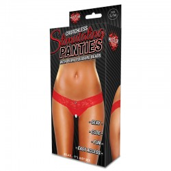 Hustler Clitoral Stimulating Thong Red With White Beads (Silver Undertone) M/L