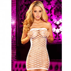 Hustler Fencenet Micro Mini Dress White