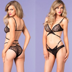 Leopard Lace Wrap Around Bra Top And Brazilian Panty O/S Black 2pc