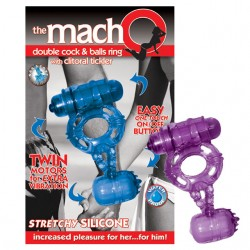 Macho Double Cock Ring With Clit Tickler (Blue)