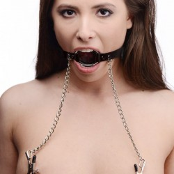 Masters Ring Gag w/ Nipple Clamps