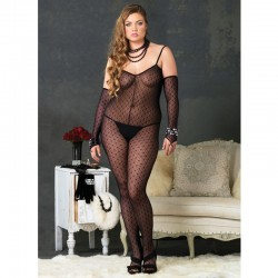 Mini Daisy Lace Bodystocking w/Lace Up Back Plus Size Black