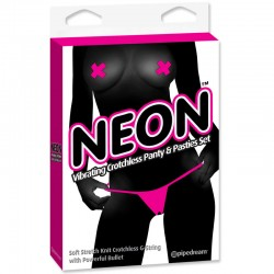 Neon Vibrating Crotchless Panty and Pasties Set Pink
