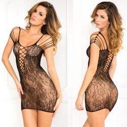 Off The Hook Lace Seamless Dress Black O/S