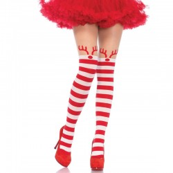 Rudolph Reindeer Opaque Striped Pantyhose W/Sheer Thigh High O/S Red/White