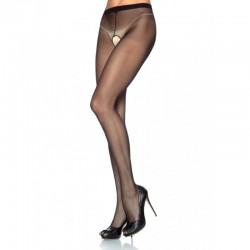 Sheer Nylon Crotchless Pantyhose O/S Black/Black