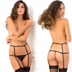 Wide Open Cage Garter Black M/L