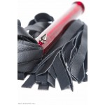 the ferramenta leather flogger - red handle, front view