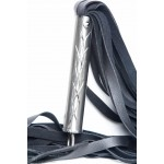 Stand-up view of the natural steel handle leather flogger- the Vanquisher