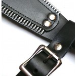le butch strap-on harness, close up of the buckle