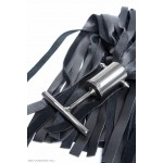 40 strand leather Tbar floggers - Natural Steel handle
