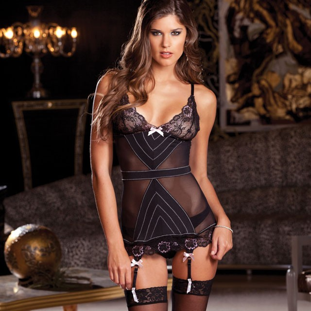 2pc Babydoll & G-String Set With Garters