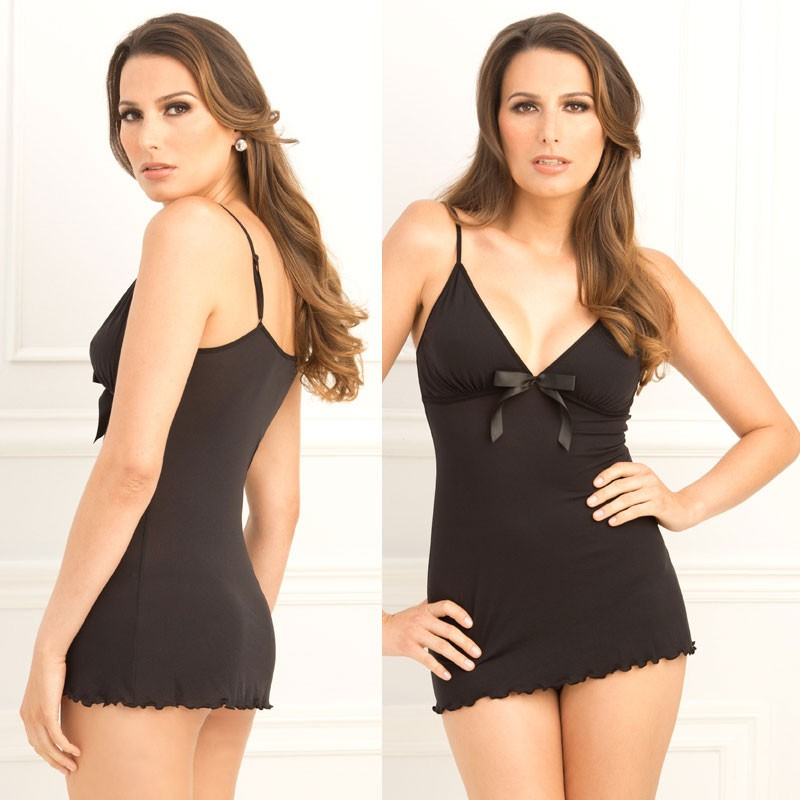 2pc Bow Tie Chemise & G-String Set Black M/L