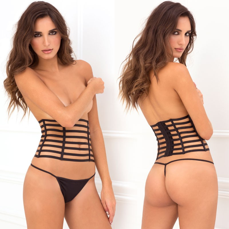 2pc Cage Waspie & G-String Set Black S/M