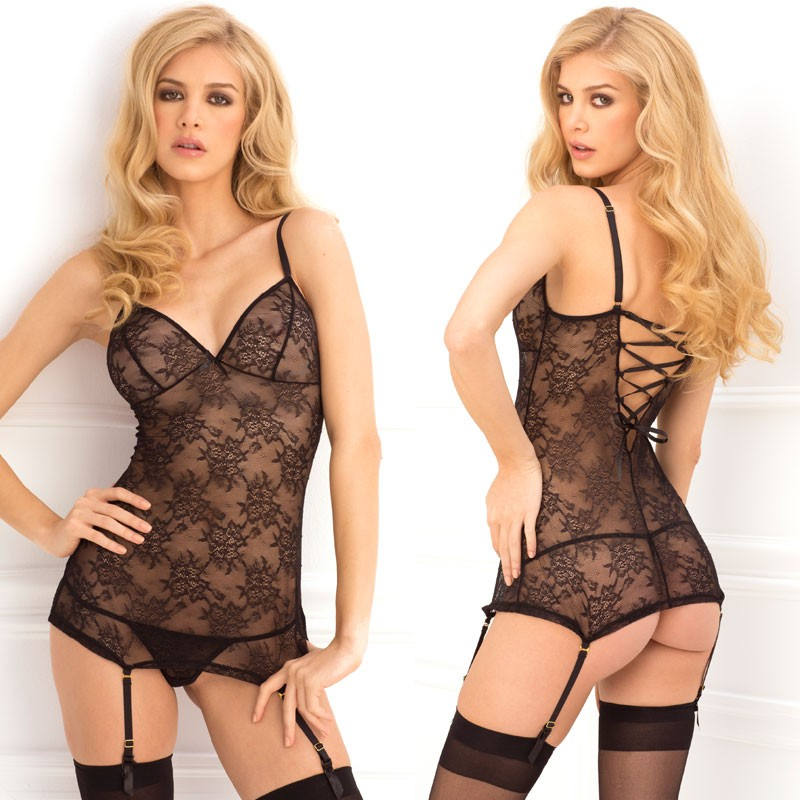 2pc Floral Lace Garter Chemise & G-String Set Black S/M