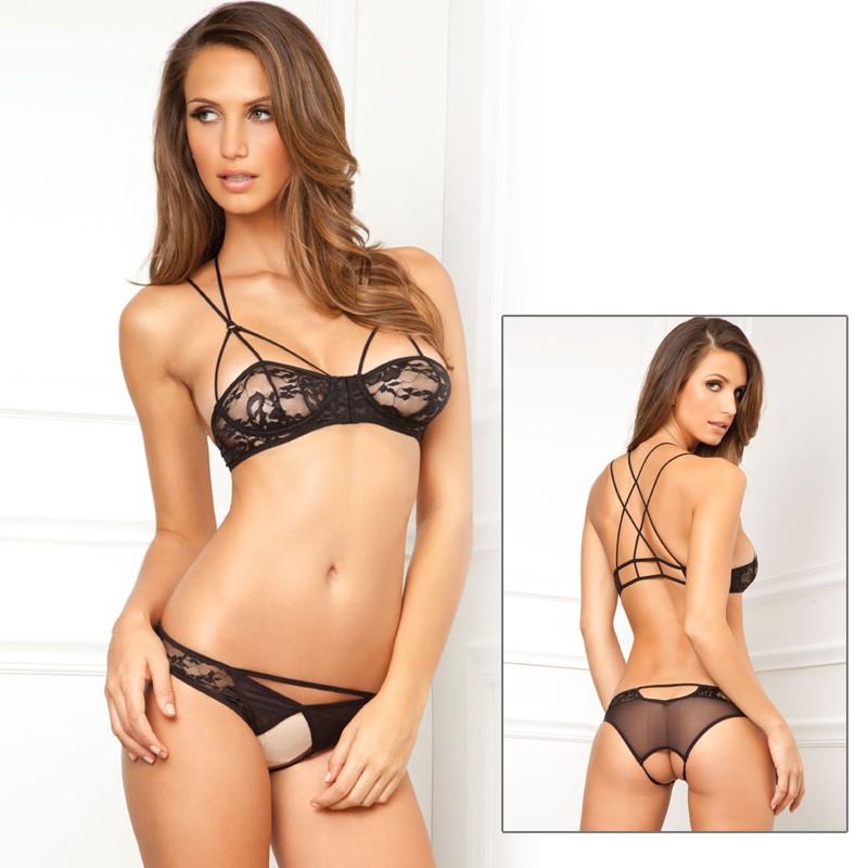 2pc Lace Bra & Crotchless Panty Blk M/L