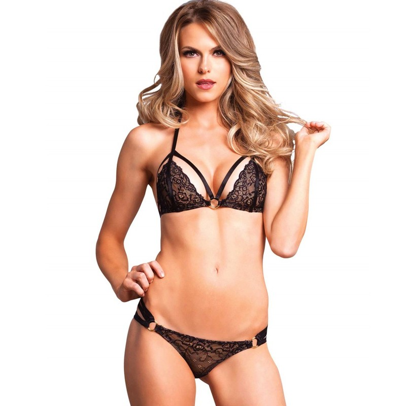 2pc Lace Cage Strap Bikini Top W/Strappy Ruched Panty Med/Lge Black
