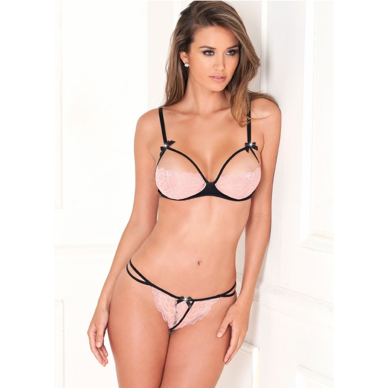 2pc Lace Cups Bra With G-string Set M/L