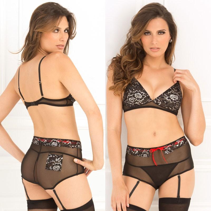2pc Lace & Mesh Bra & Garter Panty Set Black S/M