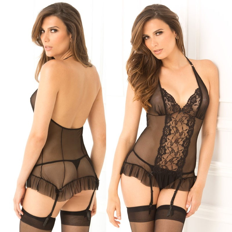 2pc Lace & Mesh Garter Chemise & G-String Set Black S/M
