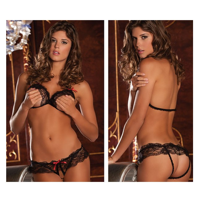 2pc Lace Peek-A-Boo Bra & Crotchless Panty Set