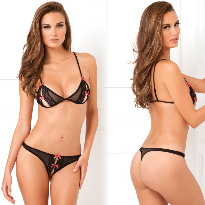 2pc Lace Peek A Boo Bra & Crotchless Thong Set