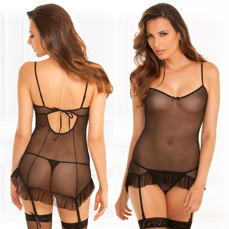 2pc Mesh Chemise & G-String Set Black S/M