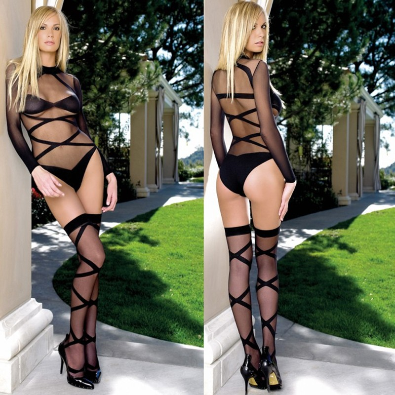 2pc Opaque Sheer Criss Cross Body Suit & Matching Thigh Highs O/S Black